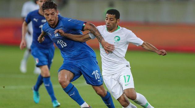 تيسير الجاسم في مباراة الأخضر وإيطاليا
