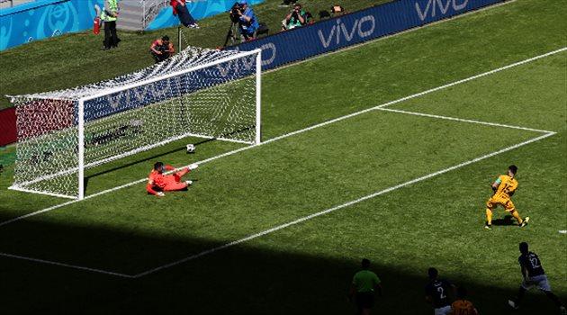جيديناك يسجل هدفًا لأستراليا من ركلة جزاء في مباراة فرنسا وأستراليا