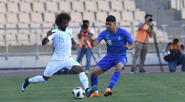 ياسر الشهراني في مباراة الأخضر واليونان