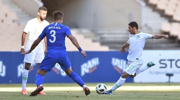 تيسير الجاسم في مباراة المنتخب الوطني السعودي واليونان