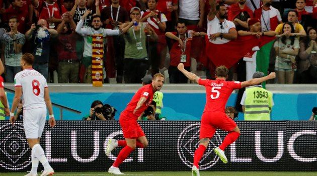 احتفال هاري كين بالهدف الأول لمنتخب إنجلترا