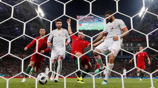 دييجو كوستا لحظة تسجيل الهدف الثاني في مباراة البرتغال وإسبانيا