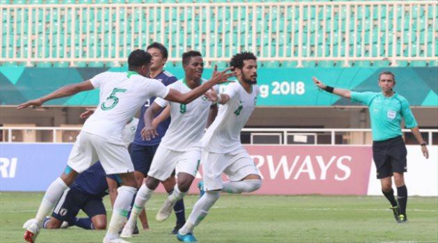 احتفال لاعبو السعودية أمام اليابان