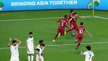 """فيديو  بـ""""العراقي المجنس"""".. قطر تتأهل لربع نهائي كأس آسيا بهدف في أسود الرافدين"""