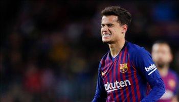 إصابة عضيلة تبعد كوتينيو عن برشلونة