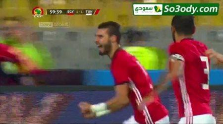 باهر المحمدي يحرز الهدف الثاني لمنتخب مصر في مرمى منتخب تونس تعليق رؤوف خليف