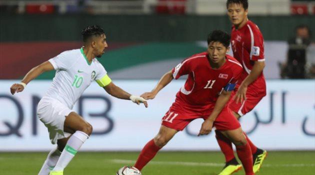 سالم الدوسري في مباراة السعودية وكوريا الشمالية