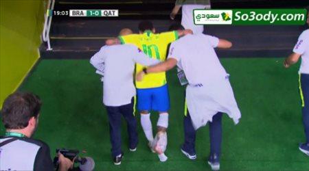 لحظة إصابة نيمار في المباراة الودية أمام قطر