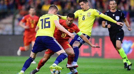 فيديو.. بلجيكا تضرب اسكتلندا بثلاثية في تصفيات يورو 2020