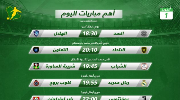 مباريات اليوم  الهلال يصطدم بالسد والاتحاد مع التعاون.. ومواجهات أوروبية نارية   سعودى سبورت