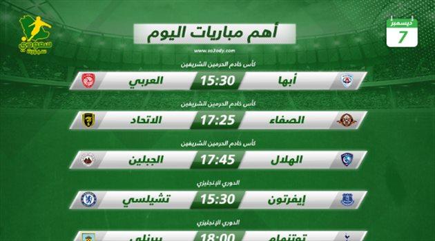 مباريات اليوم  الهلال يستعد للمونديال.. و ديربي مانشستر  في الدوري الإنجليزي   سعودى سبورت