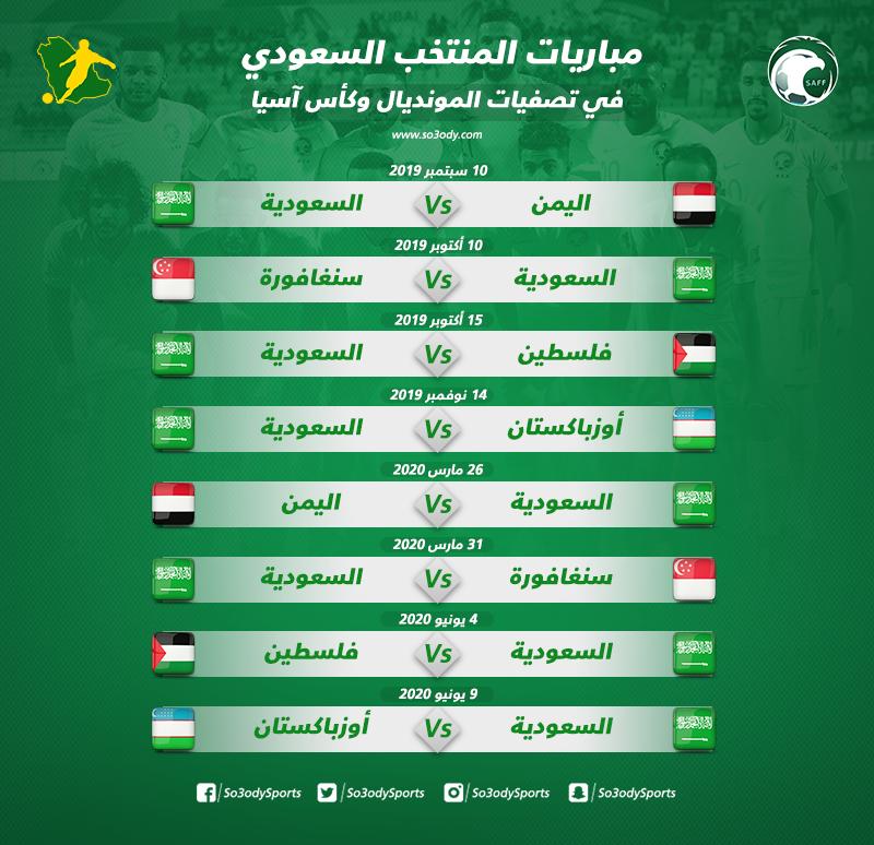 جدول مباريات الأخضر في تصفيات المونديال وكأس آسيا سعودى سبورت