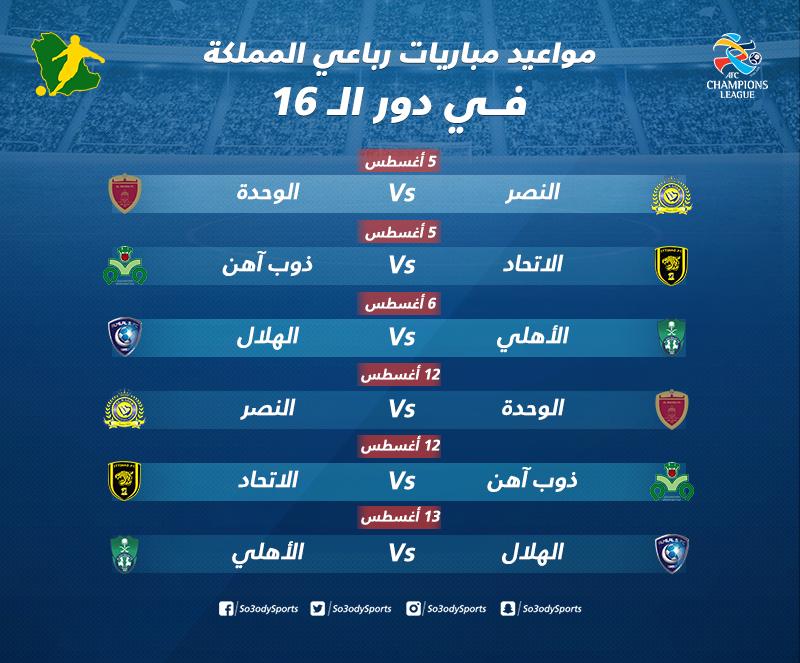 أبطال آسيا تعرف على مواعيد مباريات رباعي المملكة في دور الـ 16 سعودى سبورت