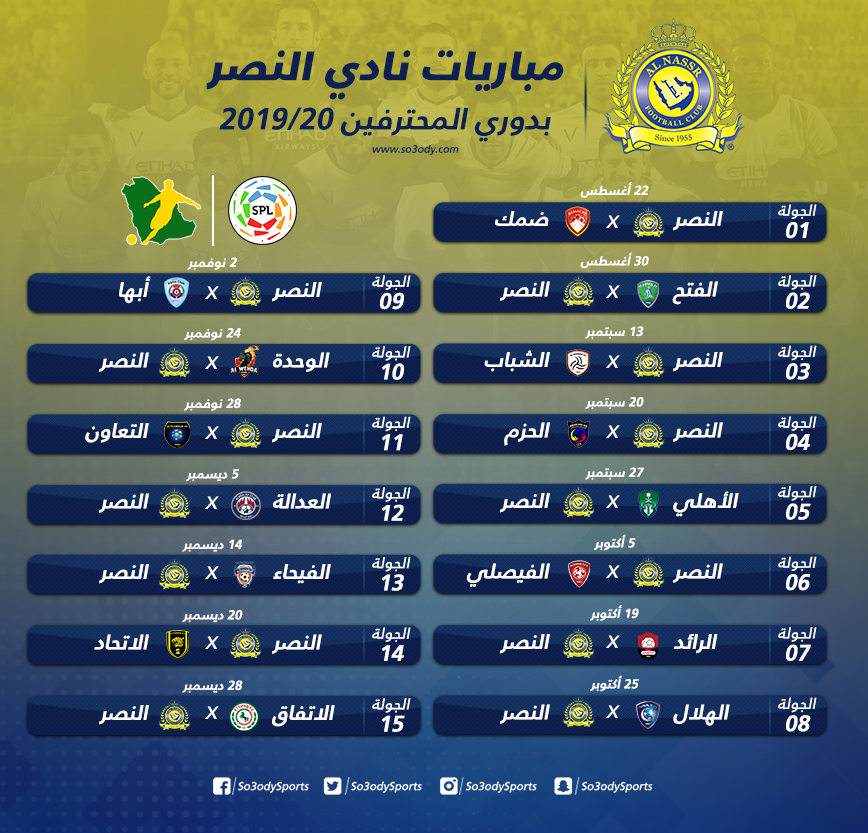 إنفوجرافيك مواعيد مباريات النصر في الدور الأول من دوري المحترفين سعودى سبورت