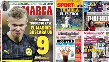 صحف العالم ليوم الثلاثاء.. جدل كبير حول تأجيل الأوليمبياد وريال مدريد يقتحم الميركاتو