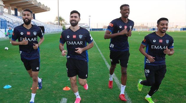 سلمان الفرج ومحمد كنو وعمر خربين وسالم الدوسري - تدريبات الهلال