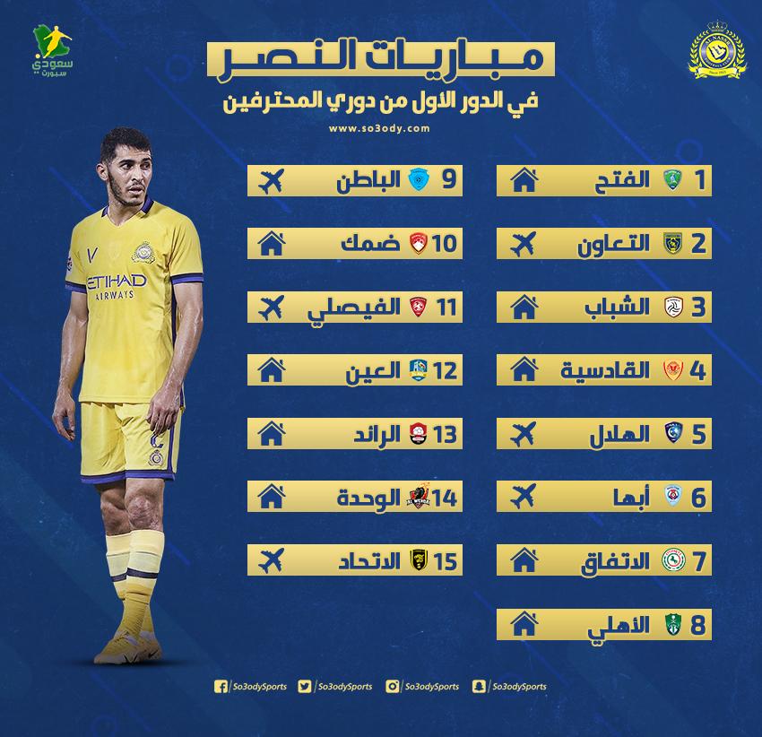 جدول مباريات النصر في الدور الأول بدوري المحترفين انطلاقة نارية للعالمي سعودى سبورت