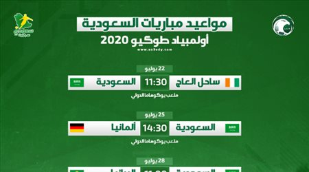 مواعيد مباريات السعودية في أولمبياد طوكيو 2020