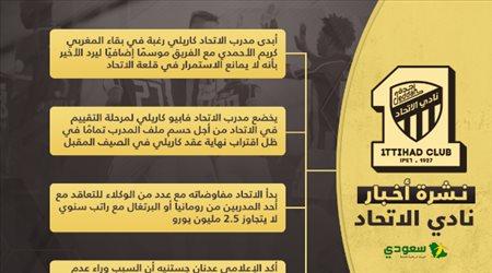 أخبار الاتحاد اليوم| بديل كاريلي والقائد يحسم مستقبله مع العميد