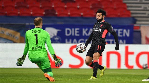 محمد صلاح من مباراة ليفربول أمام لايبزيج