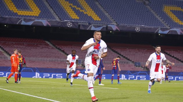 مبابي من مباراة برشلونة بدوري الأبطال